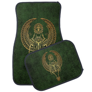 Winged Egyptian Scarab Beetle with Ankh on Green Car Mat