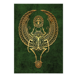 Winged Egyptian Scarab Beetle with Ankh on Green Custom Announcement