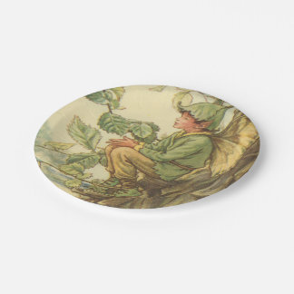 Winged Elm Fairy Sitting in a Tree 7 Inch Paper Plate