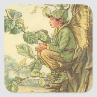 Winged Elm Fairy Sitting in a Tree Square Sticker