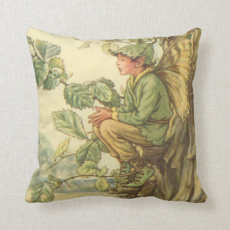 Winged Elm Fairy Sitting in a Tree Throw Pillow