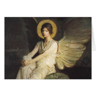 Winged Figure Seated Upon a Rock by Abbott Thayer Greeting Card