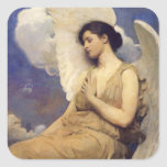 Winged Figure Vintage Angel Square Stickers