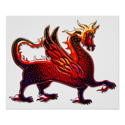 winged fire dragon print