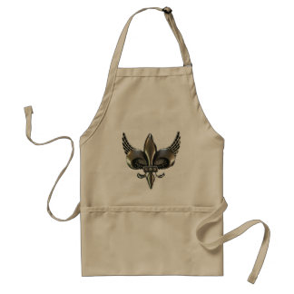 WINGED FLEUR-DE-LIS DISTRESSED PEWTER STANDARD APRON