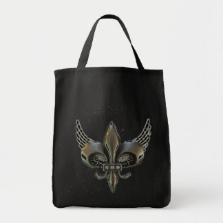 WINGED FLEUR-DE-LIS DISTRESSED PEWTER TOTE BAG