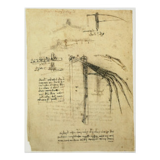 Winged Flying Machine Sketch by Leonardo da Vinci Poster