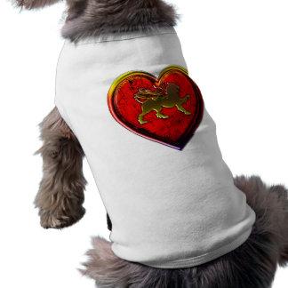 Winged Golden Lion Heart Rounded Edit Sleeveless Dog Shirt