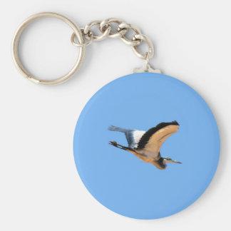 Winged great blue heron bird in flight basic round button key ring