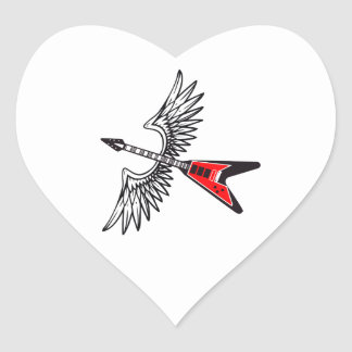 WINGED GUITAR HEART STICKERS