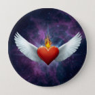 Winged Heart 10 Cm Round Badge
