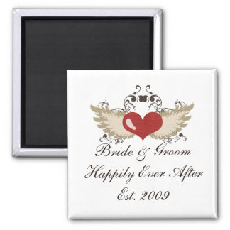 Winged Heart Custom Bride Groom Wedding Magnet