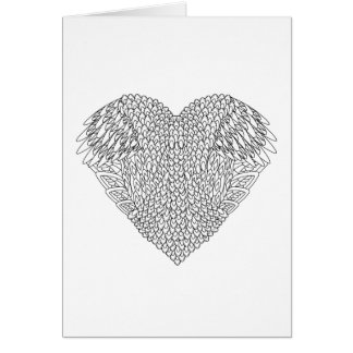 Winged Heart Doodle Card