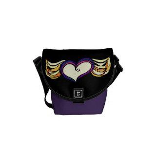 Winged Heart Mini Messenger Bag (dark)