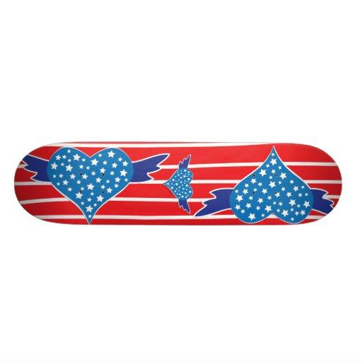 Winged Heart Red White Blue Skatedeck Skate Deck