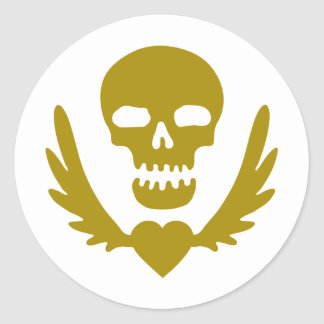 Winged-Heart-Skull.png Classic Round Sticker
