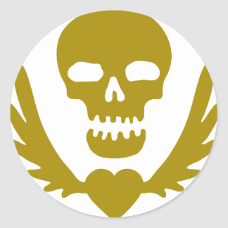 Winged-Heart-Skull.png Round Sticker