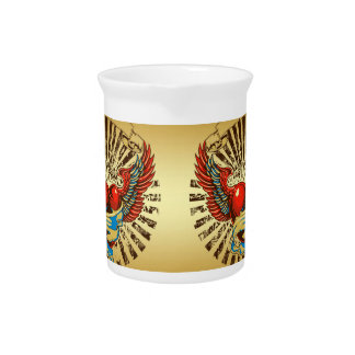 Winged heart tattoo beverage pitcher