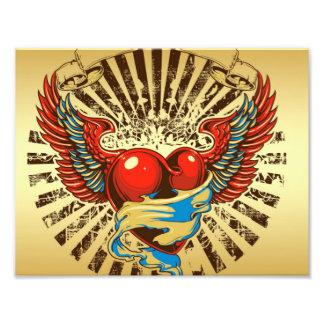 Winged heart tattoo photograph