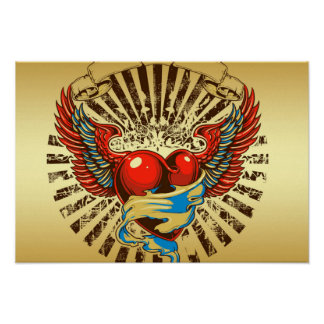 Winged heart tattoo poster