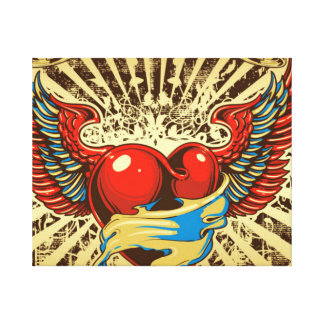Winged heart tattoo stretched canvas prints