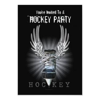 Winged Hockey Party invitation