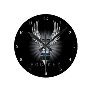 Winged Hockey Round Clock