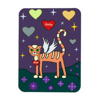 Winged Kitty with Heart Custom  Premium Magnet