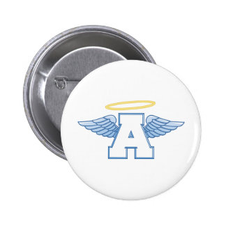 Winged Letter A 6 Cm Round Badge