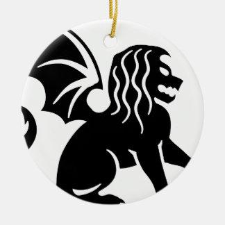 Winged Lion Sitting Round Ceramic Decoration