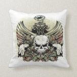 Winged musical skull pillows