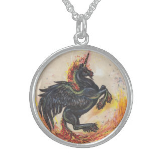 Winged Nightmare Unicorn Sterling Silver Sterling Silver Necklace
