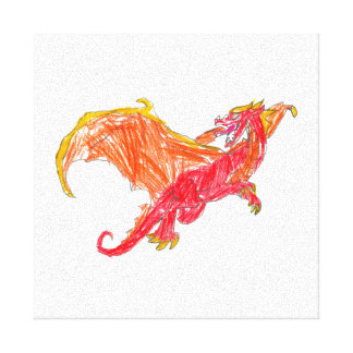 Winged Red Dragon Stretched Canvas Print