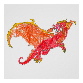 Winged Red Dragon Poster