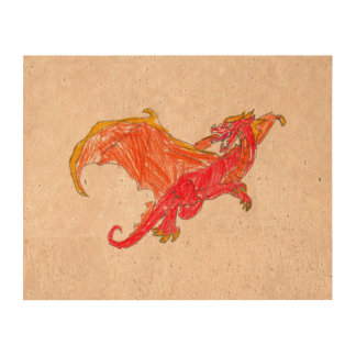 Winged Red Dragon Cork Paper