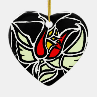 winged rose ceramic heart decoration