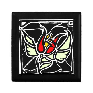 winged rose small square gift box
