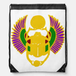winged scarab beetle Egyptian design-gold & white Rucksack