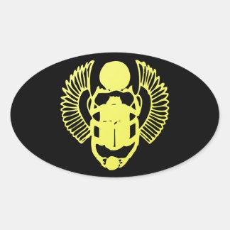 Winged Scarab Oval Sticker