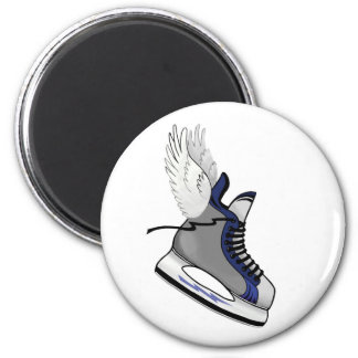 winged skate 6 cm round magnet