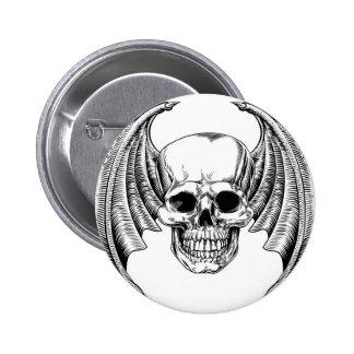 Winged Skull Etching Style 6 Cm Round Badge