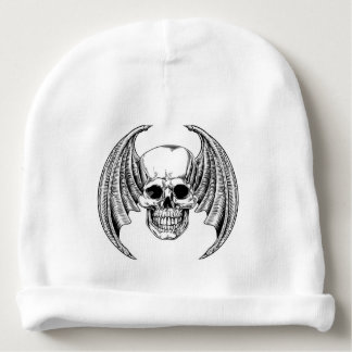 Winged Skull Etching Style Baby Beanie