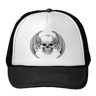 Winged Skull Etching Style Cap