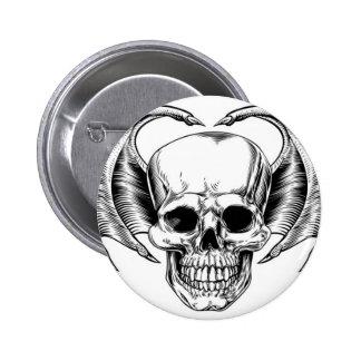Winged Skull Grim Reaper 6 Cm Round Badge