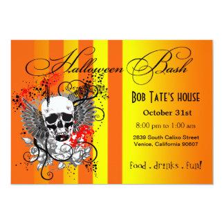 Winged Skull Halloween Party   yellow orange 13 Cm X 18 Cm Invitation Card