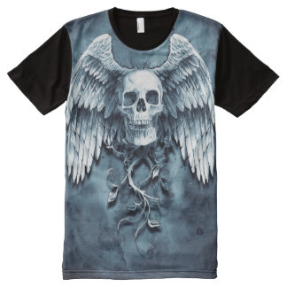 Winged Skull in blues All-Over Print T-Shirt