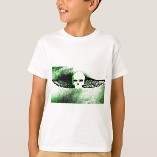 WINGED SKULL IN FLIGHT PRINT in green tint T-Shirt