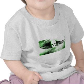 WINGED SKULL IN FLIGHT PRINT in green tint Tee Shirts