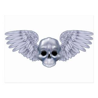 Winged skull post card