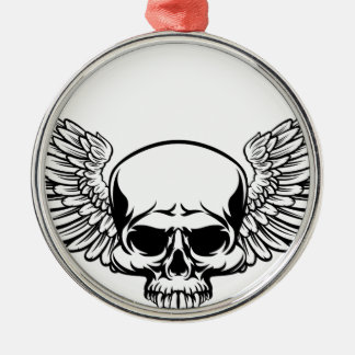 Winged Skull Silver-Colored Round Decoration